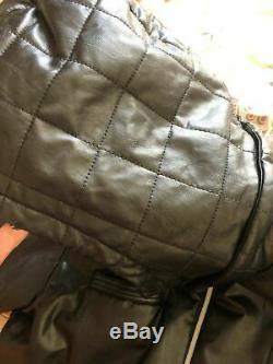 Black Leather Vintage Adidas Hooded Jacket Old School Rare B-Boy Original L-XL