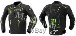 Black Monster Motorbike Racing Jacket- 100% Cowhide Leather
