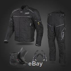 Black Motorbike Motorcycle Waterproof Jacket Trouser Glove Leather Boot Suit Set