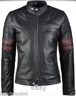 Black New cowhide Motorbike Leather Jacket Motorcycle Bikers Racing ALL-SIZE
