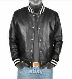 Black Real Genuine Leather Lightweight Bomber Varsity Style Jacket