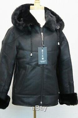Black Silky Genuine Sheepskin Shearling Leather Boys Kids Children Coat Jacket