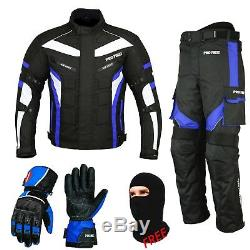 Blue Motorcycle Suit Clothing Cordura Jacket & Trouser Matching Gloves All Size