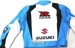 Blue Suzuki GSXR Motorbike Motorcycle Leather Jacket Trousers Suit Medium UK