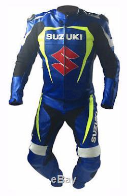 Blue Suzuki Racing Biker Leather Suit Motogp Motorcycle Leather Jacket Trouser