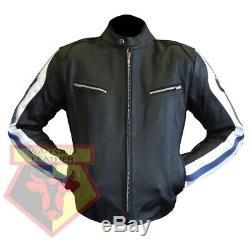 Bmw 3874 Black Motorbike Motorcycle Bikers Cowhide Leather Armoured Jacket