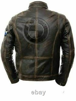 Bmw Brown Motorbike Original Cowhide Leather Jacket With CE Approved Protections
