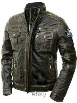 Bmw Motorbike/Motorcycle Leather Jacket In Cowhide/ 5 Protections/ All Sizes