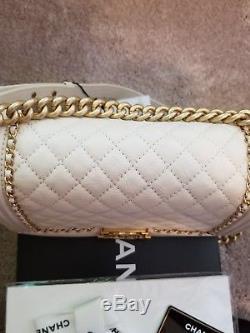 Bnwt Chanel 16k A67086y61013 Boy Jacket Old Medium In White Calfskin Leather Ghw