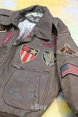 Boy's Brown Leather Bomber Jacket with PATCHES, Lined, Zipper Front, size Small
