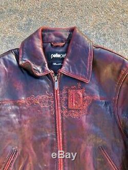 Boys Pelle Pelle Leather Jacket Coat Marc Buchanan Kids Size 6 Rare Burgundy