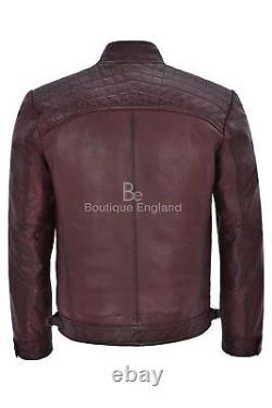 Brad Pitt's Mens Leather Speed Racing Quilted Shoulders Cherry Biker Jacket 1201
