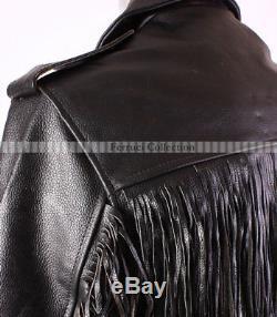Brando Fringe Mens Cow Boy Biker Cruiser Leather Jacket