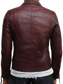 Brandslock Genuine Leather Motorbiker Jacket Distress Retro Classic Burgundy