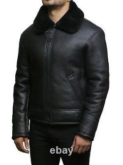 Brandslock Man Genuine Sheepskin Leather B3 Flight Aviation Bomber Jacket Design