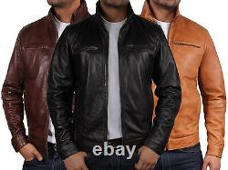 Brandslock Mens Genuine Leather Biker jacket Bomber Distressed Vintage Casual