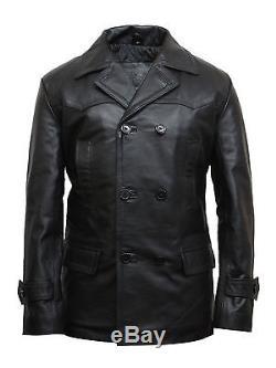 Brandslock Mens Genunie Leather Biker Jacket German Military Captain WWII