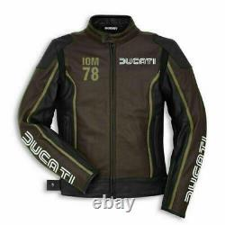 Brown Ducati Motorbike Motorcycle Leather Racing Jacket With Complete Protection