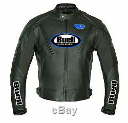Buell Motorcycle Racing Leather Jacket with CE Armor