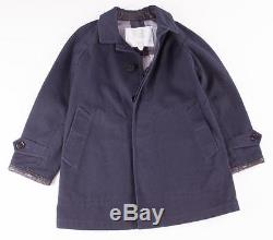 Burberry Children Boys Nova Check Navy Blue Leather Peacoat Jacket 5/6 Nwt $495