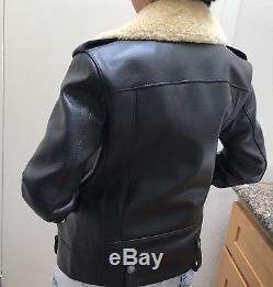 COACH Leather Shearling Boys Biker Jacket oversized Moto SZ XXS $1795 black rare