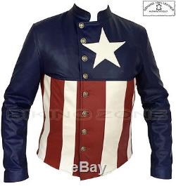 Captain America Stylish Mens Motorbike / Motorcycle / Fashion Leather Jacket