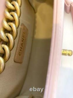 Chanel Pink Quilted Leather Small Jacket Boy Bag with Gold Hardware