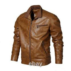 Chocolate Brown Casual Leather Jacket Free Shipping