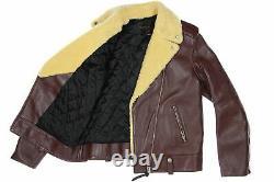 Coach Women's'Boys Biker' Shearling Calf Leather Jacket Moto (Large, Burgundy)