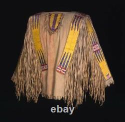 Cow Boy Shirt Tan Buck Skin Buffalo Long Fringe Pow Wow War Leather Shirt