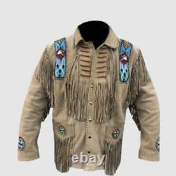 Cow Boy Texas Buck Skin Buffalo Beige Bones And Beads Suede Leather Coat Jacket