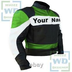 Custom 2020 GREEN Motorcycle Motorbike Leather Jacket Biker Armoured Coat