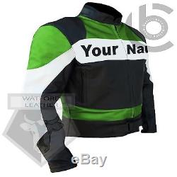 Custom 2020 Green Motorbike Cowhide Leather Jacket- Send Your Name After Order