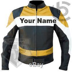 Custom 2020 Yellow Motorbike Motorcycle Cowhide Leather Jacket- Free Lettering