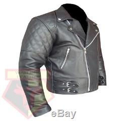 Custom 4588 Genuine Black Cowhide Leather Motorbike Motorcycle Armour Jacket