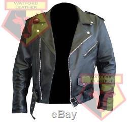 Custom 4589 Black Motorbike Motorcycle Bikers Cowhide Leather Armoured Jacket