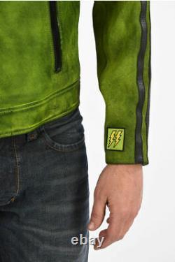 DIESEL men Jackets Leather L-BOY-A Jacket with Zip Closure Black Green