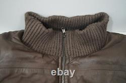 DOLCE & GABBANA Boys Brown Lambskin Leather Quilted Lined Bomber Jacket Sz9/10