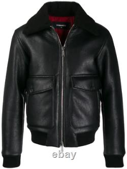 DSQUARED2 Black Shearling Bomber Leather JACKET SIZE S SMALL 36 UK NEW