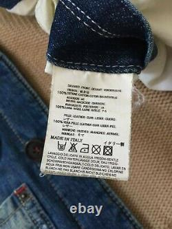 DSQUARED Jacket Denim Sleeves Puffer Leather Wool Size 48 Made in Italy