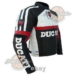 DUCATI 3039 BLACK Biker GEAR Leather Jacket Motorcycle Coat Motorbike Armoured