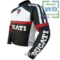 DUCATI 3039 trendy Black Cowhide Coat Unisex Motorcycle biker Cow Leather jacket