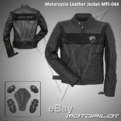 DUCATI Motorbike Motorcycle Rider Leather Jacket MPJ-044 (US 38,40,42,44,46,48)