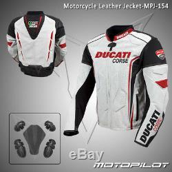 DUCATI Motorbike Motorcycle Rider Leather Jacket MPJ-154 (US 38,40,42,44,46,48)