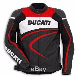 DUCATI (Rep) MOTORCYCLE RACING LEATHER JACKET. CE APPROVED FULL PROTECTION