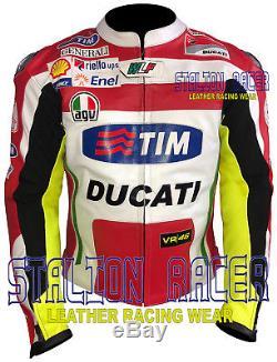 DUCATI VR46 Rossi MOTORBIKE/MOTORCYCLE RACING COWHIDE LEATHER JACKETS