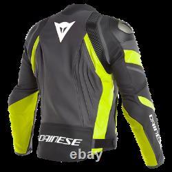 Dainese Avro 4 Leather Jacket Black Yellow Leather Sport Motorcycle Jacket New