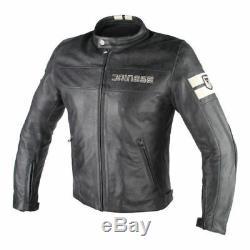 Dainese HF D1 Black Ice Leather Jacket Armoured Motorcycle Jacket 50