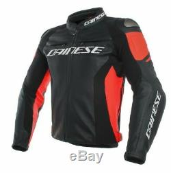 Dainese Replica Racing 3 Leather Jacket Black / Fluo Red All Sizes