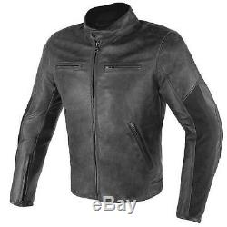 Dainese Stripes D1 Retro Street Leather Motorcycle Motorbike Jacket Black